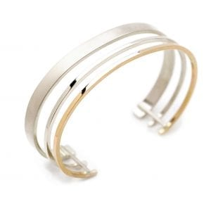 Sterling Silver 14k Yellow Gold Triple Bracelet