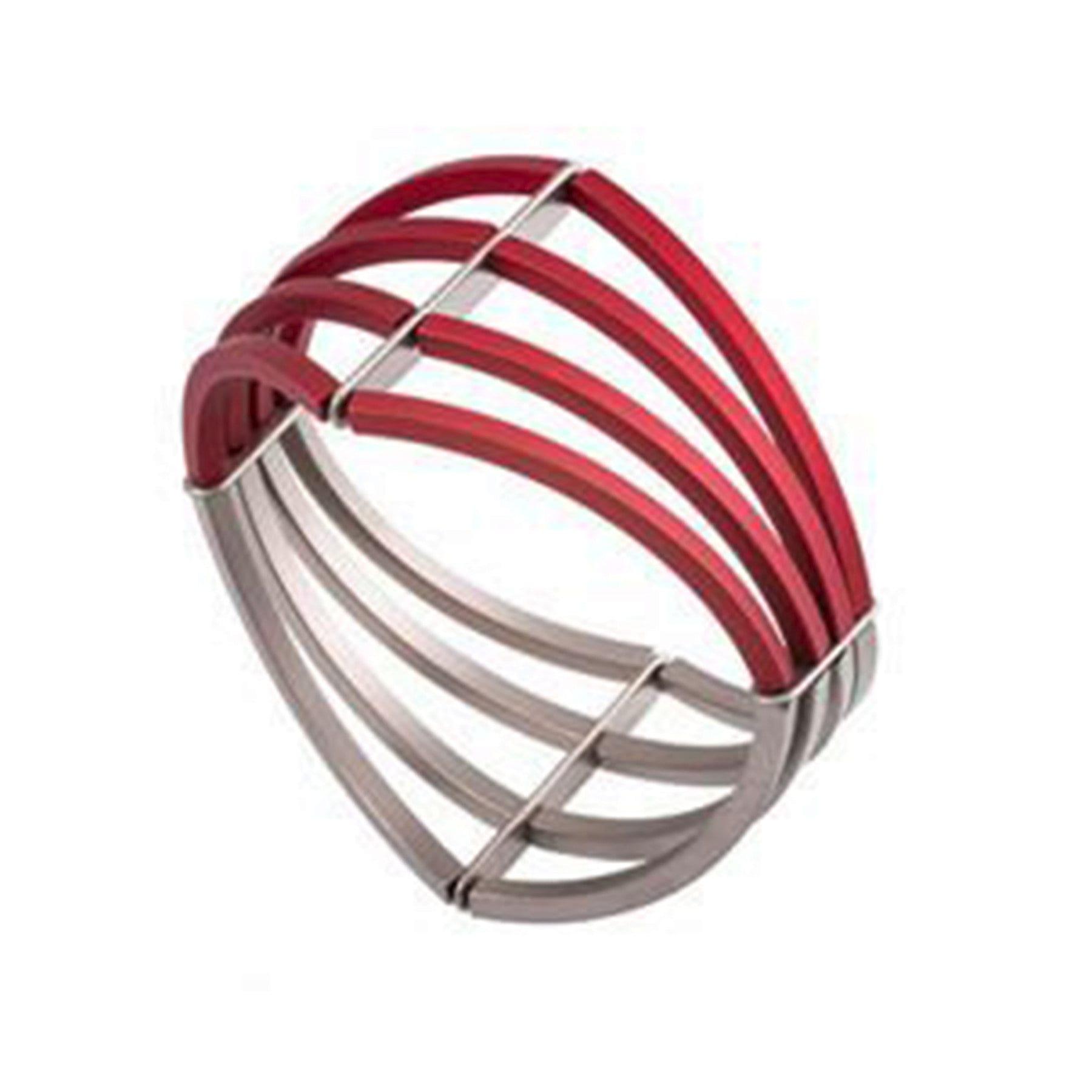 Red Grey Structured Wide Aluminium Bracelet