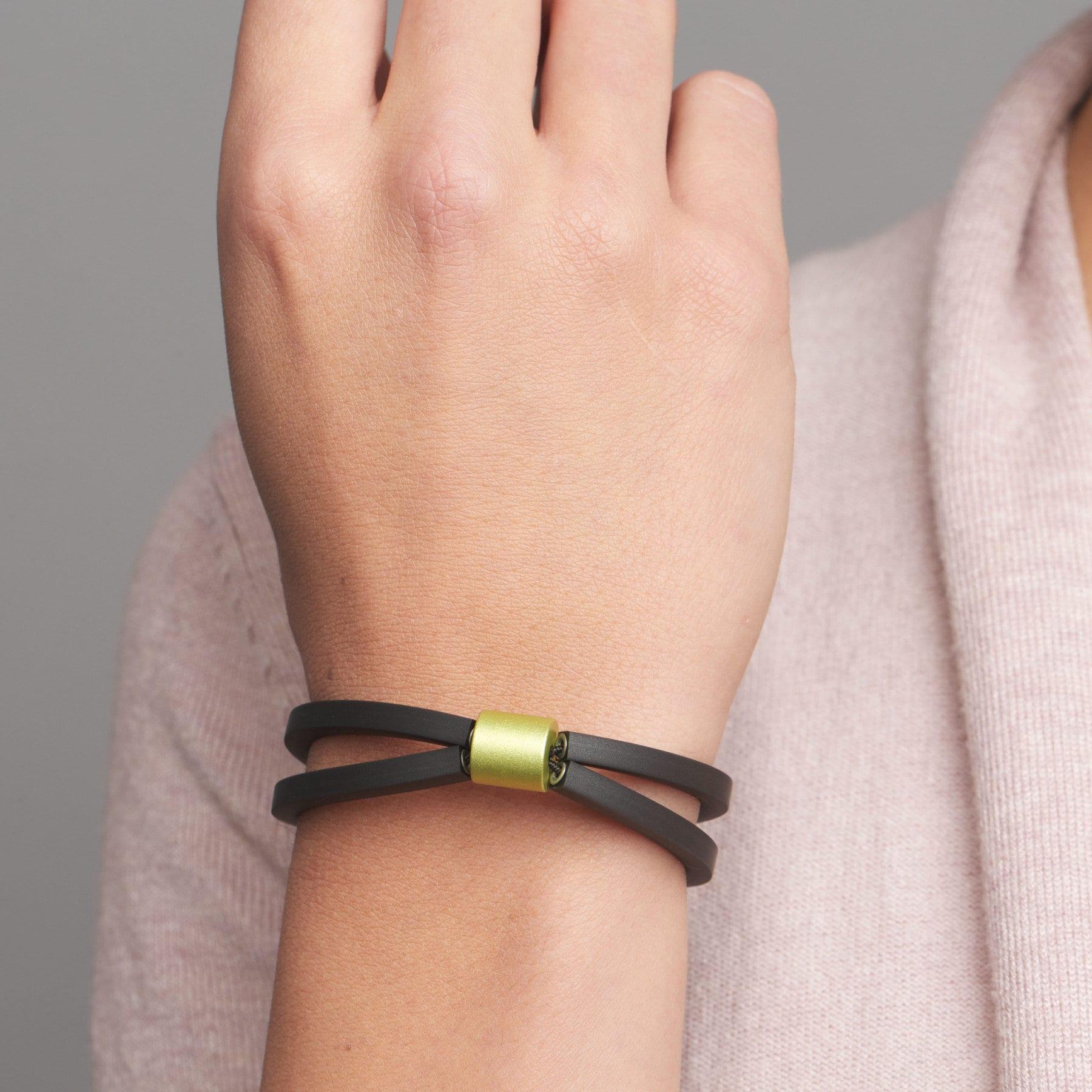 Green Aluminium Rubber Roller Bracelet