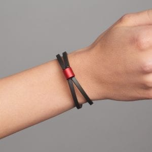 Red Aluminium Rubber Roller Bracelet