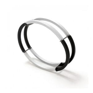 Black Structured Steel Aluminium Bracelet