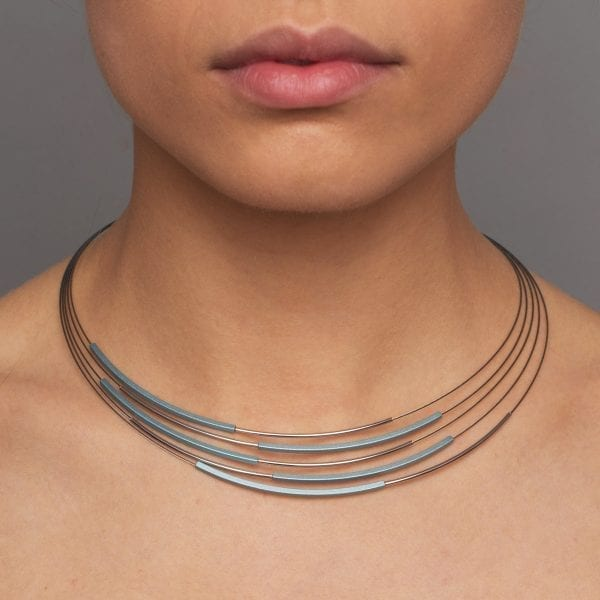 Grey Light Blue Tube Steel Aluminium Necklace