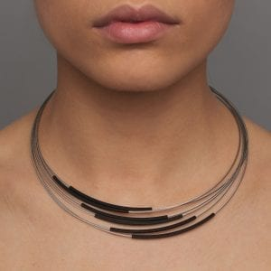 Grey Black Tube Stainless Steel Aluminium Necklace