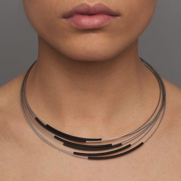 Grey Black Tube Stainless Steel Aluminium Necklace