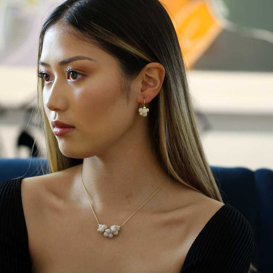 atelier luz 18k yellow gold porcelain cloud earrings necklace designyard contemporary jewellery gallery dublin ireland
