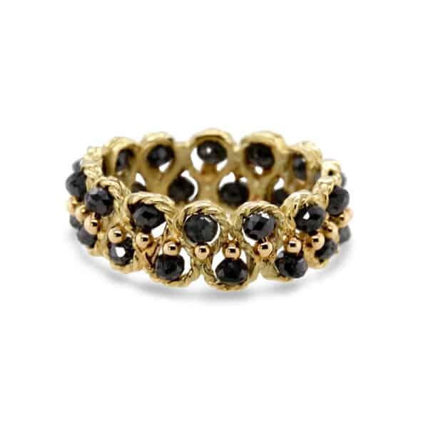 myriam oude vrielink 14k yellow gold black diamond ring designyard contemporary jewellery gallery dublin ireland handmade jewelry alternative engagement ring design designer irish jewellers shop