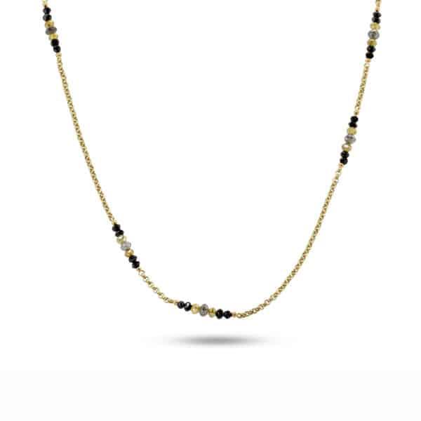 myriam oude vrielink 14k yellow gold multicoloured faceted diamond necklace designyard contemporary jewellery gallery dublin ireland handmade jewelry irish design designer jewellers shop