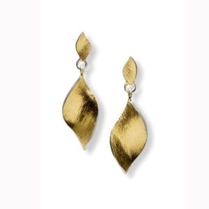 seamus gill irish jewellery designer 22k yellow gold plated silver flowing curves drop earrings designyard contemporary jewellery gallery dublin ireland paris new york rome milan olso norway zurich geneva milano venice new york manhattan the hamptons beverly hills miami