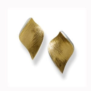 seamus gill irish jewellery designer 22k yellow gold plated silver flowing curves large leaf earrings designyard contemporary jewellery gallery dublin ireland monaco paris rome milan zurich geneva new york miami beverly hills rome venice the hamptons olso dubai