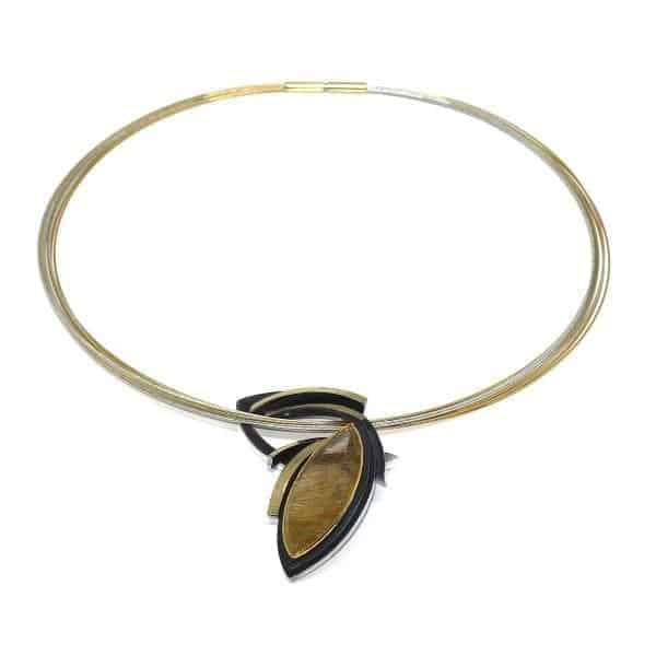 Sterling Silver 24k Yellow Gold Plated Quartz Necklace Designyard