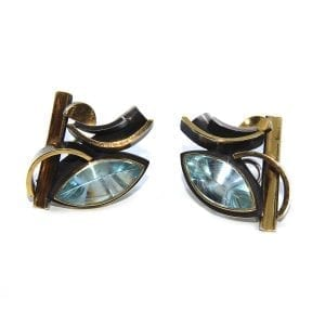 Sterling Silver 24ct Gold Aquamarine Earrings DesignYard
