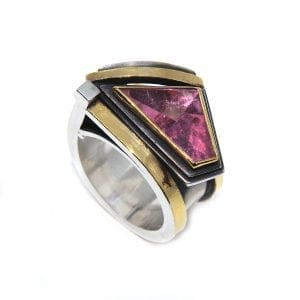 Sterling Silver 24k Yellow Gold Pink Tourmaline Engagement Ring Designyard