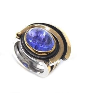 Sterling Silver 24k Yellow Gold Tanzanite Engagement Ring DesignYard