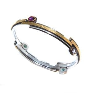 Sterling Silver 24k Yellow Gold Iolite Topaz Tourmaline Garnet Bangle DesignYard
