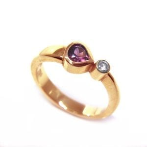 18k Rose Gold Rhodolite Garnet Comet Engagement Ring DesignYard