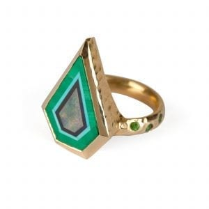 14k Yellow Gold Malachite Onyx Opal Freedom Amazonian Ring Designyard