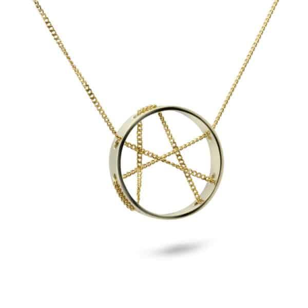 friederike grace 14k yellow gold crossing path necklace designyard contemporary jewellery gallery dublin ireland handmade luxury design irish designer goldsmith jewelry shop bespoke