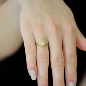 shimell and madden 18k yellow gold small nova light sapphire alternative engagement ring designyard contemporary jewellery gallery dublin ireland