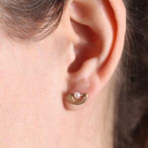 shimell and madden 18k yellow gold white pearl half circle stud earrings designyard contemporary jewellery gallery dublin ireland handmade jewelry