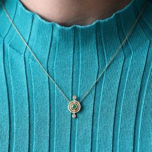 shimell madden 18k yellow gold nova emerald diamond pendant designyard contemporary jewellery gallery dublin ireland fine irish jewelry design