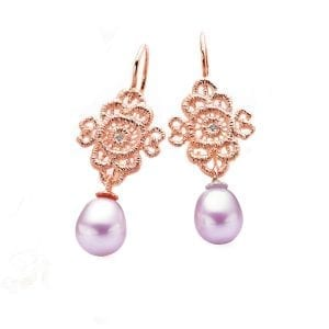 18k Rose Gold Diamond Pink Pearl Mona Lisa Earrings Designyard