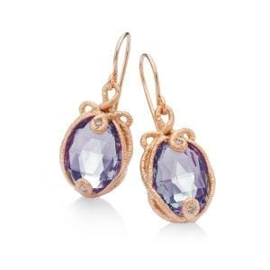 18k Rose Gold Amethyst Diamond Undine Earrings Designyard