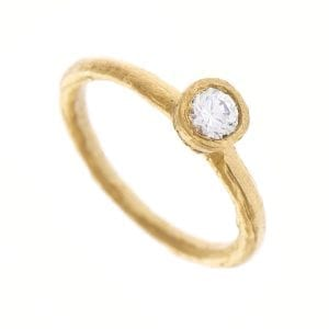 18k Yellow Gold Solitaire Diamond Etched Engagement Ring DesignYard