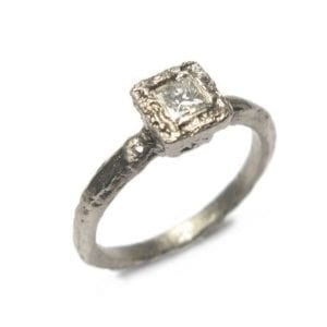 18k Etched White Gold Princess Cut Diamond Engagement Ring DesignYard