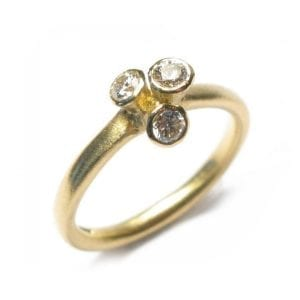 18k Yellow Gold 3 Diamond Engagement Ring DesignYard