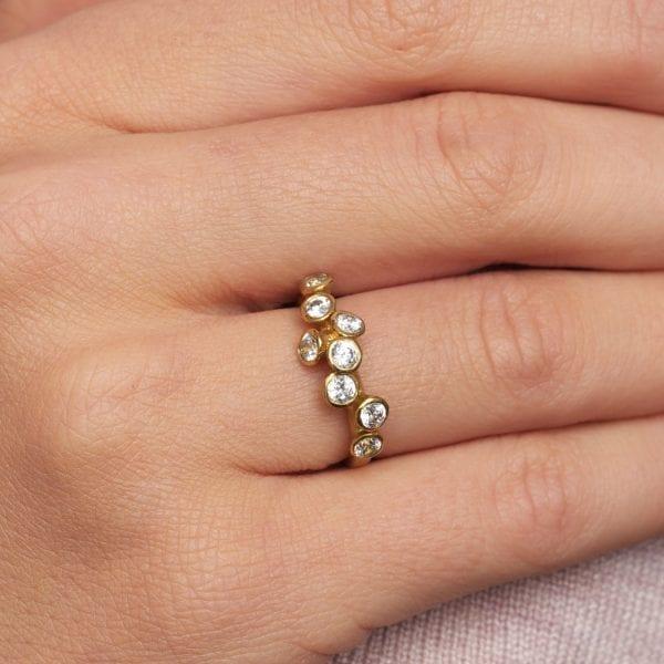 18k Yellow Gold 8 Diamond Engagement Ring Designyard