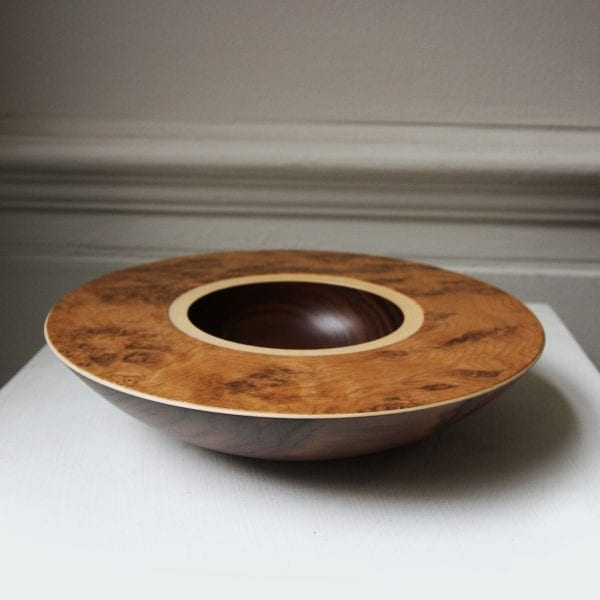 Walnut Sycamore with Burr Oak Veneer Layered Wooden Bowl Designyard