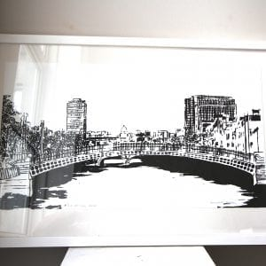 Halfpenny Bridge Screen Print Framed Pieces DesignYard