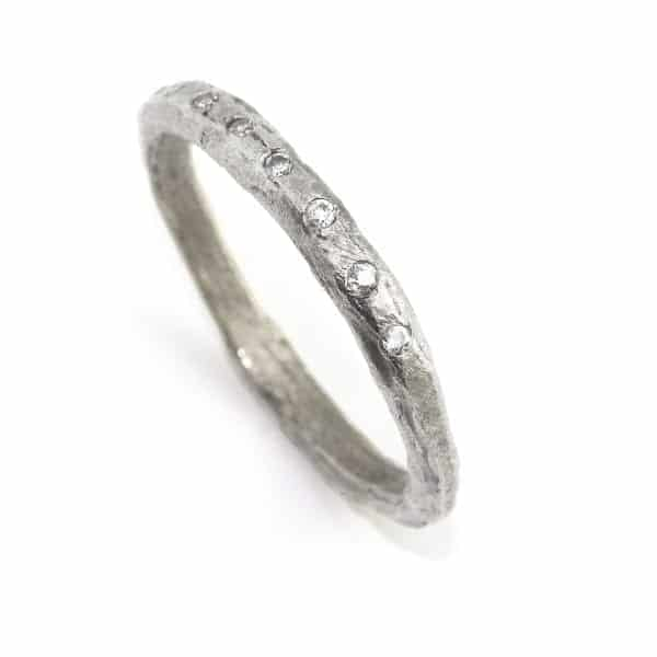 18k White Gold Etched Diamond Ring DesignYard Wedding Ring