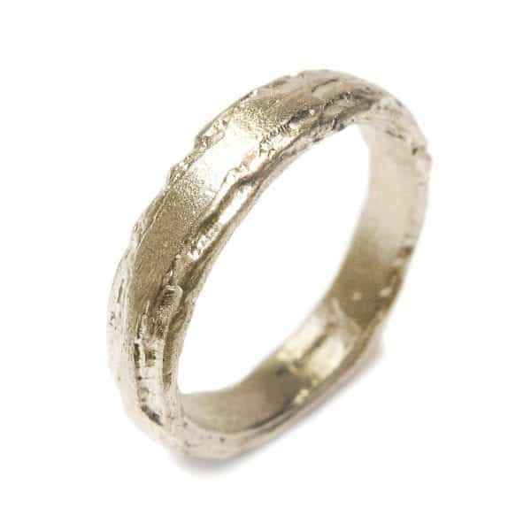 18k Yellow Gold Etched 4mm Wedding Ring DesignYard