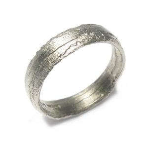 18k White Gold Etched 5mm Wedding Ring DesignYard