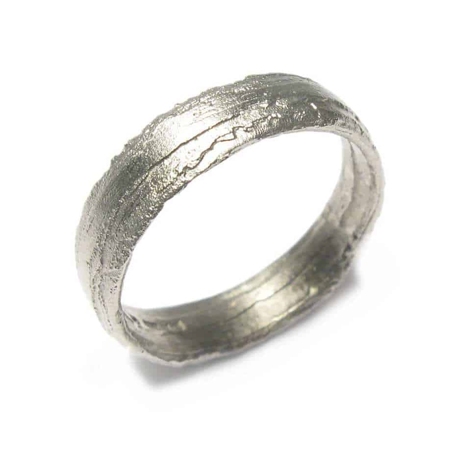 64cc2161d1ef7 18k White Gold Etched 5mm Ring
