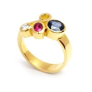 18k Yellow Gold Sapphire Ruby Diamond Engagement Ring DesignYard