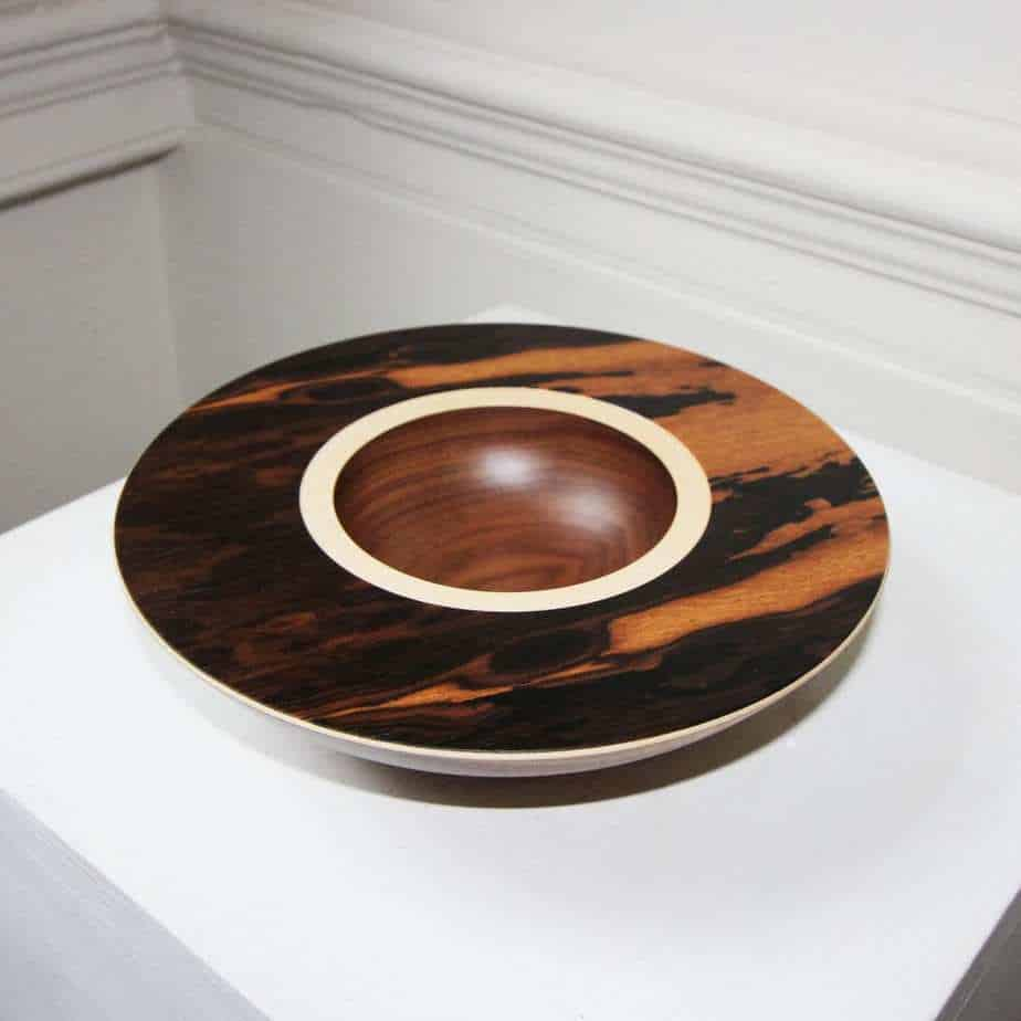 Selection of  layered wooden bowls with different veneers by Irish wood turner Mark Hanvey.