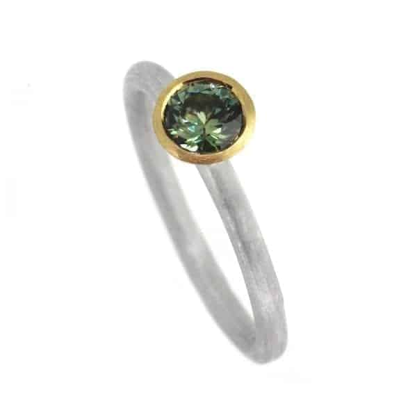 Sterling Silver 18k Yellow Gold Parti Sapphire Ring DesignYard Engagement Ring