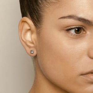 Silver Square Diamond Stud Earrings DesignYard Diamond Earrings