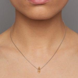 Silver 22k Yellow Gold Diamond Shell Extra Small Necklace DesignYard