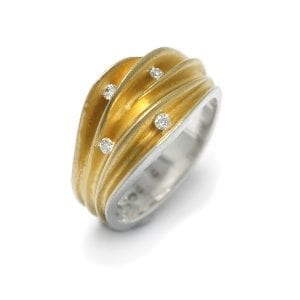 Silver 22K Yellow Gold 4 Diamond Shell Ring Engagement DesignYard