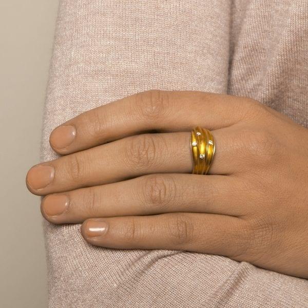 Silver 22K Yellow Gold 4 Diamond Shell Engagement Ring DesignYard