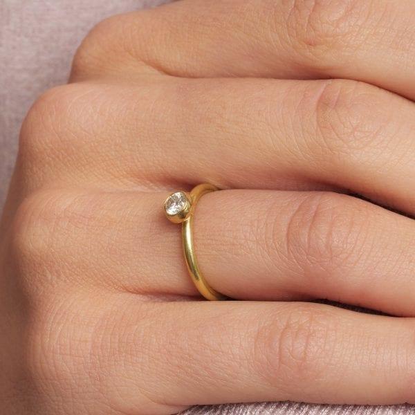 18k Yellow Gold Gum Nut Solitaire Diamond Ring DesignYard Engagement Ring