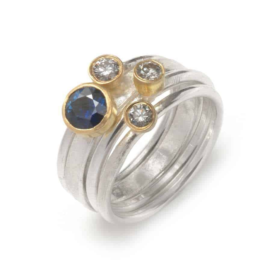 5903c6acd918f Sterling Silver 18k Yellow Gold Sapphire Diamond Stacking Rings