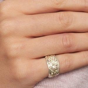 Sterling Silver 18k Yellow Gold 15 Diamond Wrap Engagement Ring DesignYard