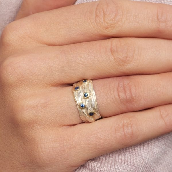 Silver 18k Yellow Gold 5 Sapphire Wrap Engagement Ring DesignYard