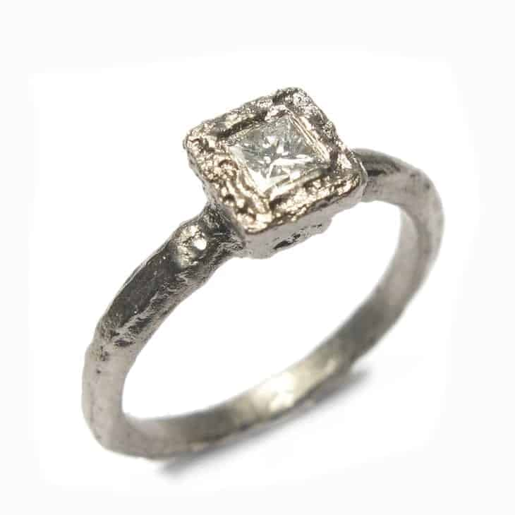diana porter 18k etched white gold princess cut diamond ring designyard contemporary jewellery gallery dublin ireland