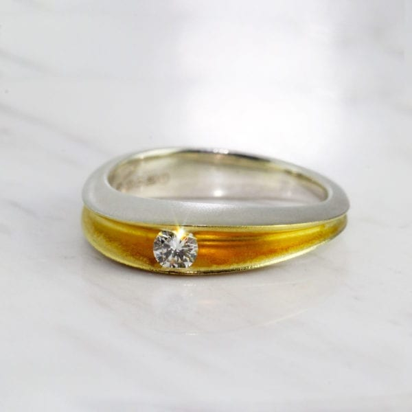 contemporary diamond engagement ring silver yellow gold paul finch designyard