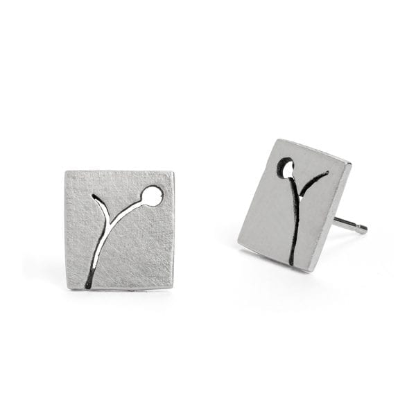 Silver Blossom Square Stud Earrings DesignYard